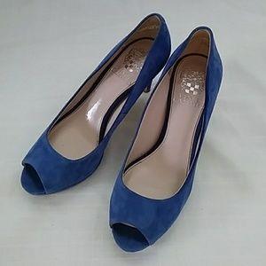 Vince Camuto Blue Suede Peep Toe Heels